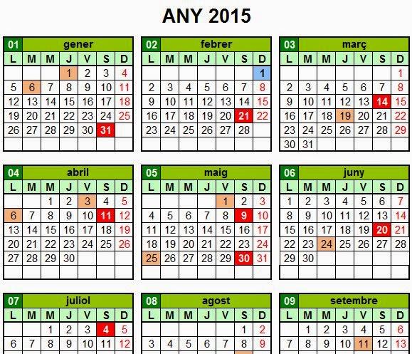 Calendari de sortides 2015