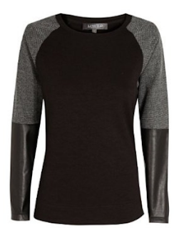 Leather look sleeve top
