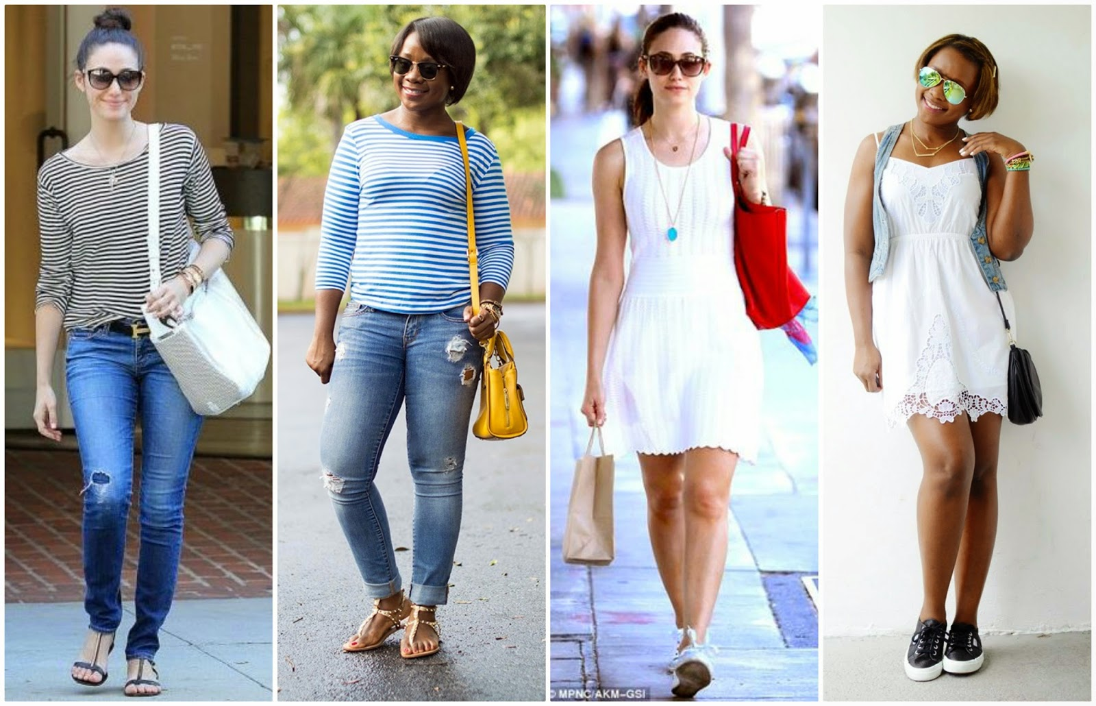 Virgo Style, Emmy Rossum Casual, Striped Tee, Skinny jeans, white dress and sneakers