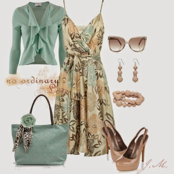 Floral Dresses With Sweater, Handbag And High-heels Shoes