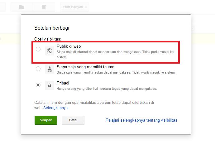 Klik Ubah Pilih Publik di web kemudian klik Simpan Google Drive