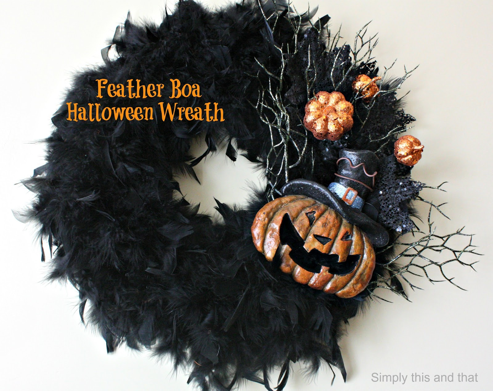 Simply This And That Feather Boa Halloween Wreath