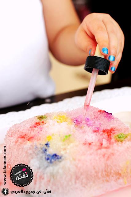نشاط تلوين قطع ومكعبات الثلج للأطفال بالقطارة والألوان السائلة Ice art for kids