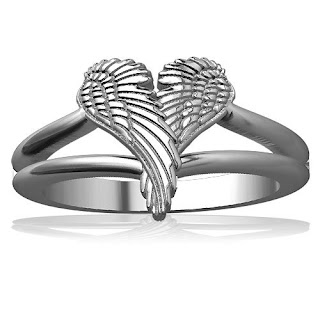Winged Love, Angel Heart Wings Ring
