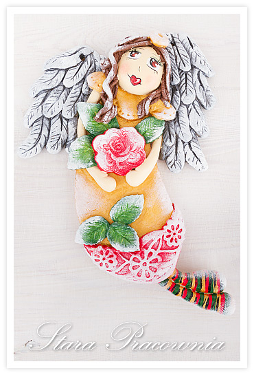 figurka z masy solnej, z masy solnej, salt dough angel, salt dough craft