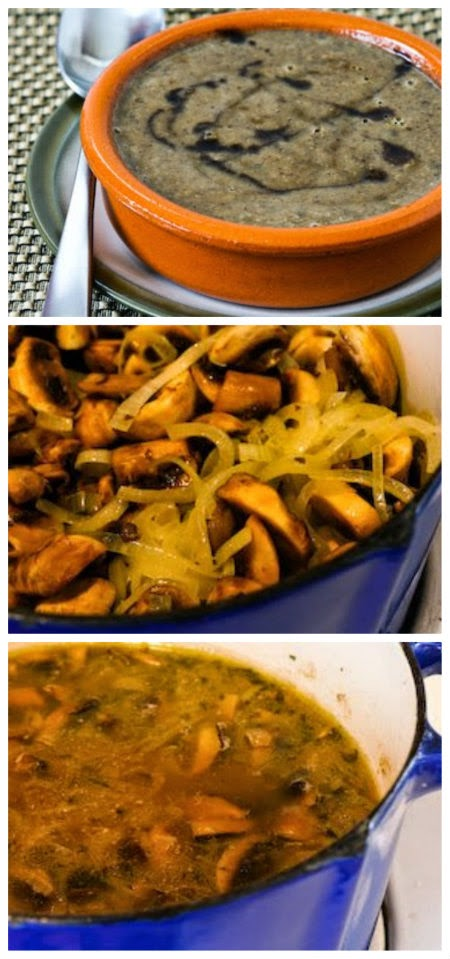 Double Mushroom Soup Recipe (Inspired by Anthony Bourdain's Mushroom Soup) found on KalynsKitchen.com
