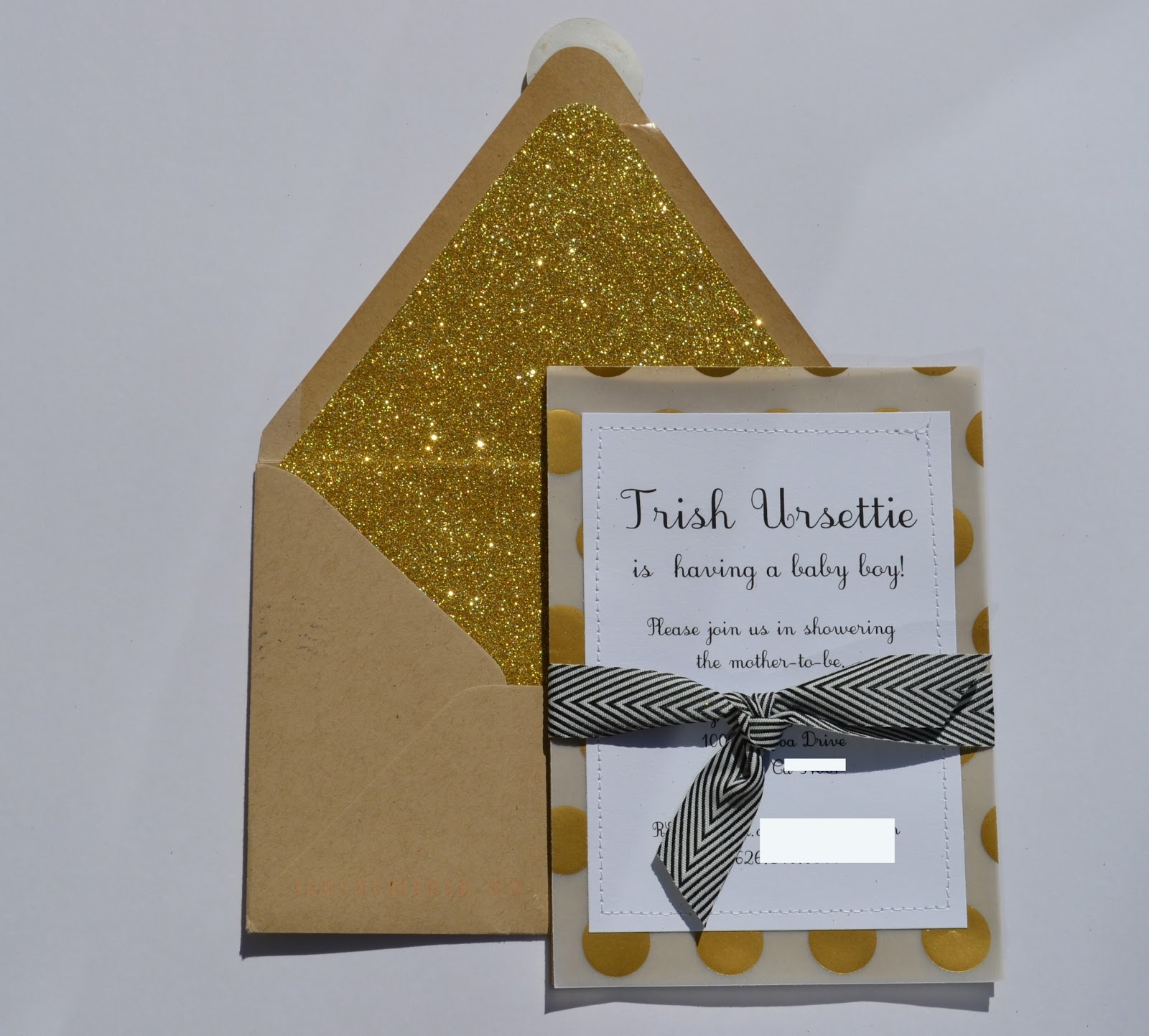 handmade black white gold baby shower the invitations