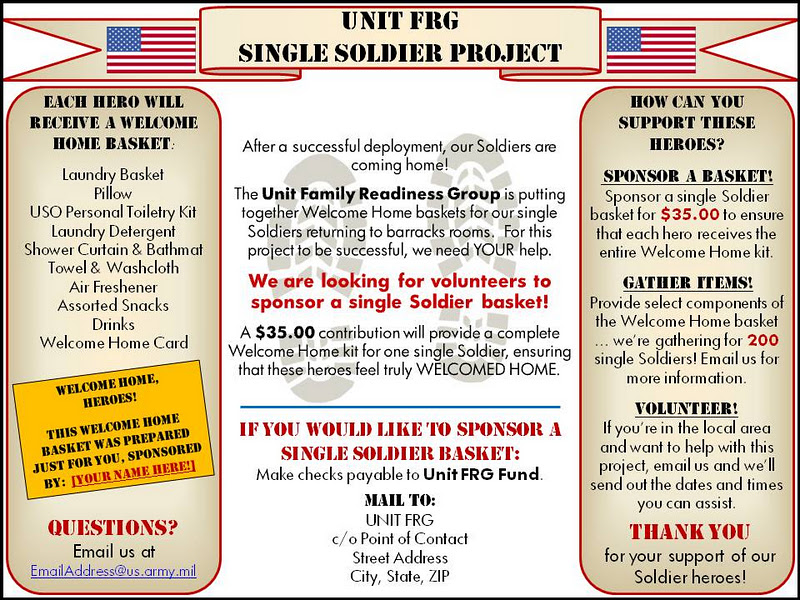 FRG Leaders: Single Soldier Project: Fundraising