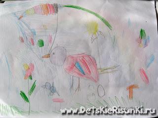 Детские Рисунки день птиц цветные карандаши