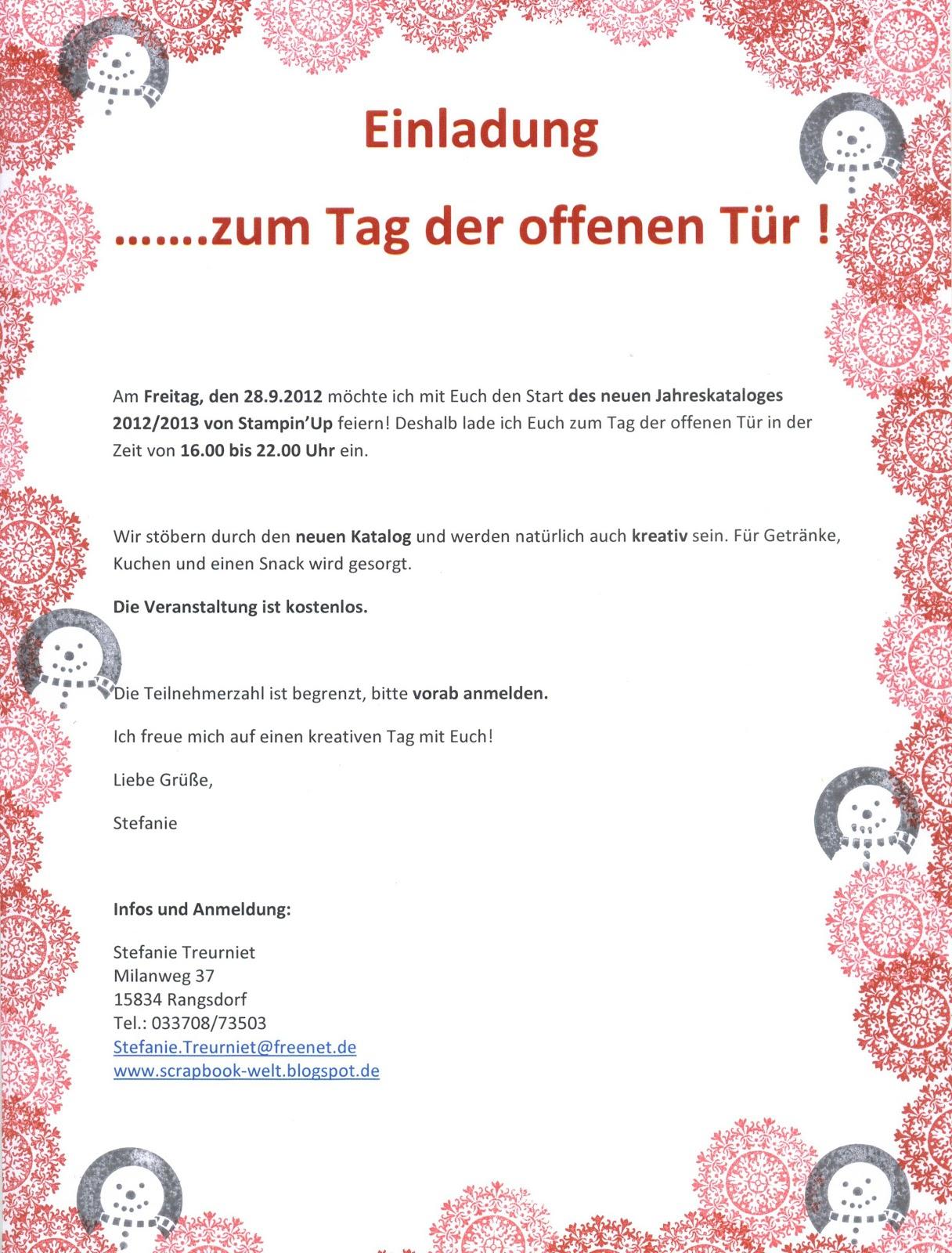 stefanie's scrapbookwelt: einladung zum tag der offenen tür!, Einladung
