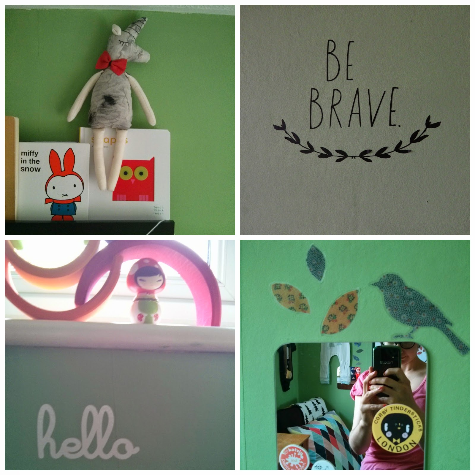 Felix's bedroom. Lucky Boy Sunday, Studio Escargot, Hellow Apparel, Decorating with decals