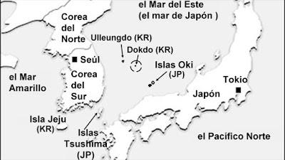 Mapa de la posición de las disputadas islas Dokdo (Takeshima en Japón).