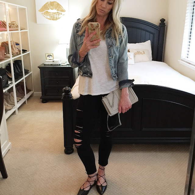 black ripped jeans white tee denim jacket laced up flats boxy handbag