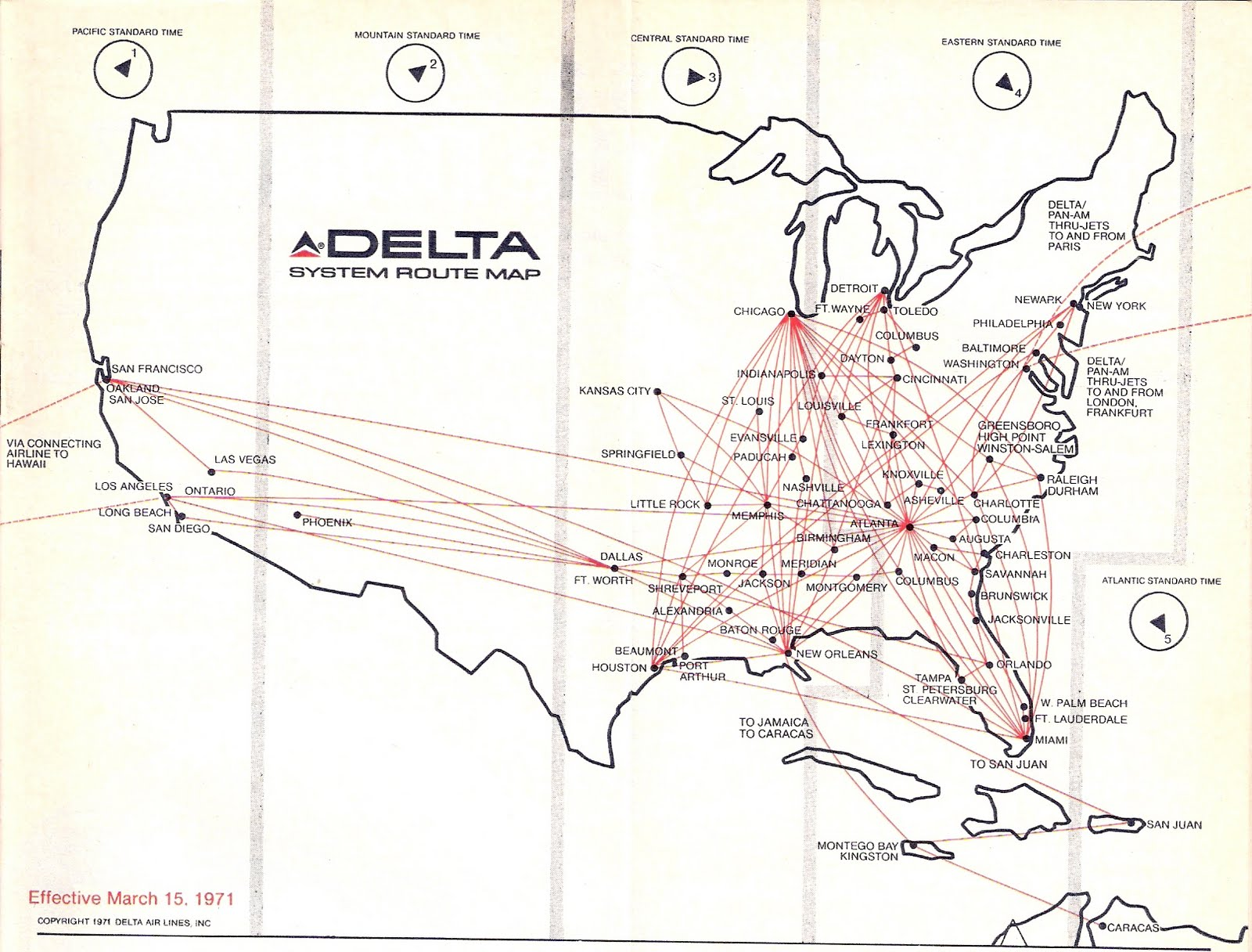 Airline Timetables: Delta Air Lines - March, 1971