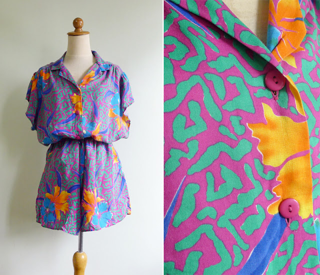 retro 80's hawaiian romper