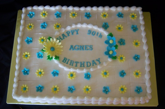 Happy 90th Birthday Agnes Sheet Cakes For A Beautiful