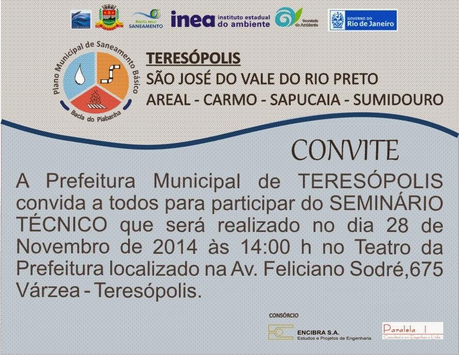CONVITE - Oficina Plano de Saneamento Básico de Teresópolis dia 28/11/14