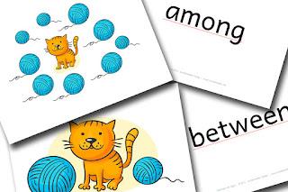 Englisch Grundschule Bildkarten prepositions of location kostenlos