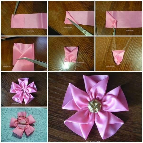 Как красиво сделать цветок из ленты фото