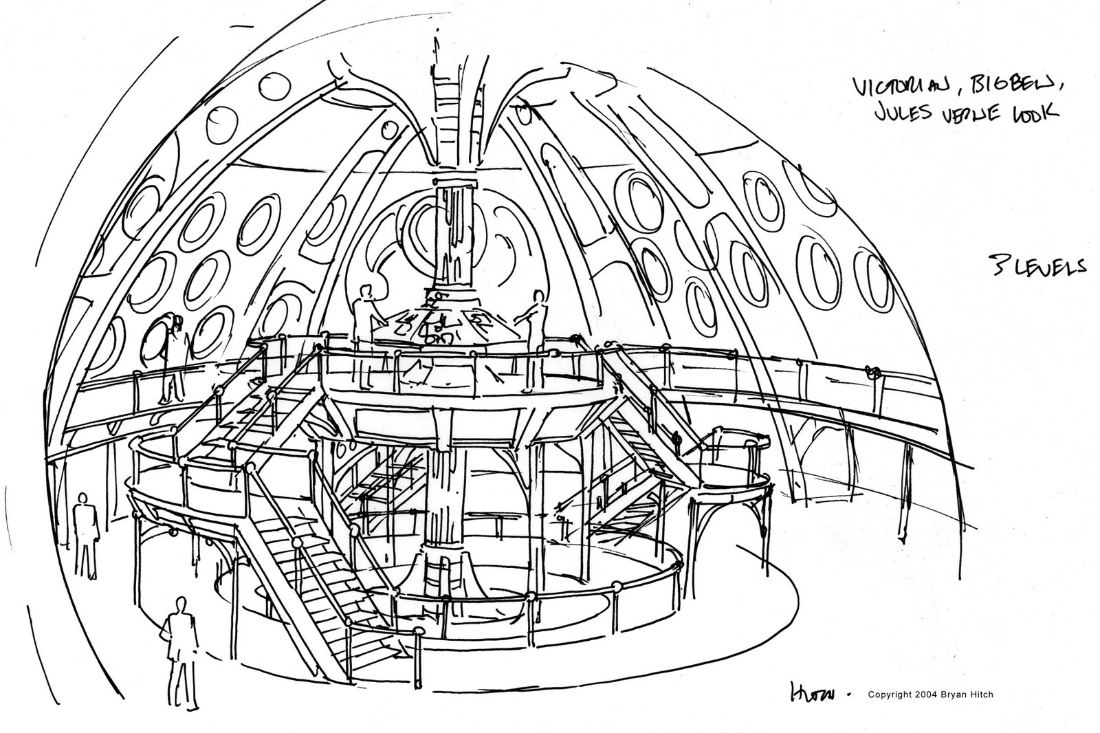 The Dork Review: Bryan Hitch's Tardis Interior Sketch