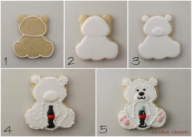 step by step tutorial of decorated Coca-Cola Polar Bear Cookies