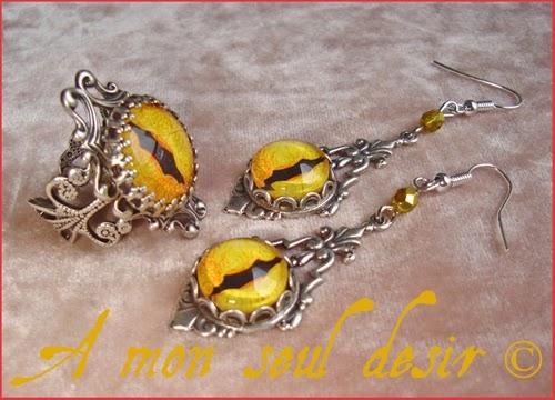ollier boucles d'oreilles parure bijoux oeil yeux chat panthère félin jaune bijoux yellow cat eyes jewelry set