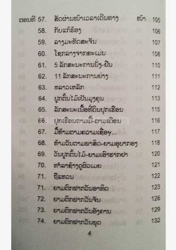 seepsong lasee - dtumnan jaet kumpee luam kong deema dtae bulan nagan (an encyclopedia of Lao astrology) - table of contents