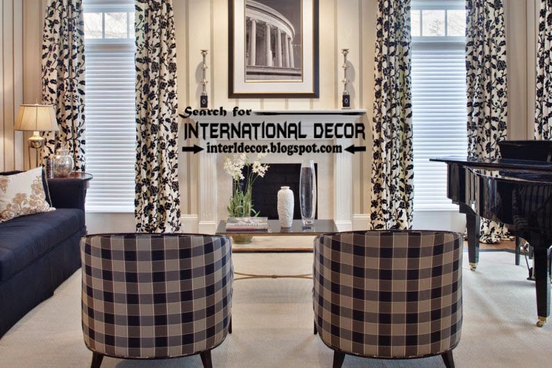 white living room curtains. black and white living room curtain styles  window treatments Top trends colors materials