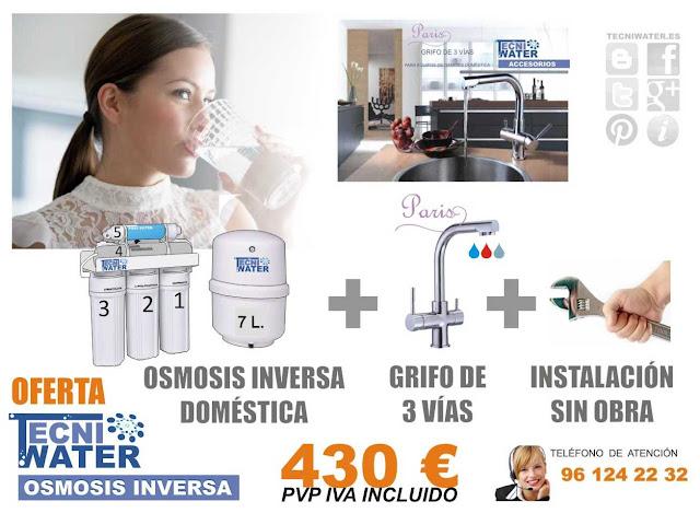El mejor precio de oferta osmosis inversa domestica valencia mas grifo de 3 vias mas instalacion