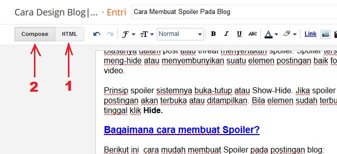 Cara Membuat Spoiler Pada Blog