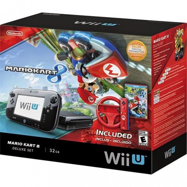 Image of Mario Kart 8 Wii U Deluxe Set, with pictures of GamePad, console, and boxed copy of Mario Kart 8
