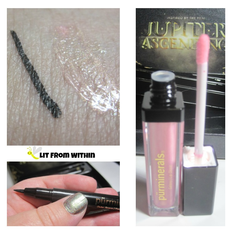 black liquid Outer Space Precision liner, and the light pink, iridescent Galaxy Lipgloss