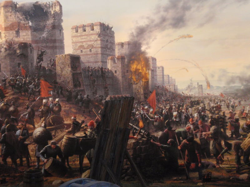 painting showing attack of triple walls of Constantinople