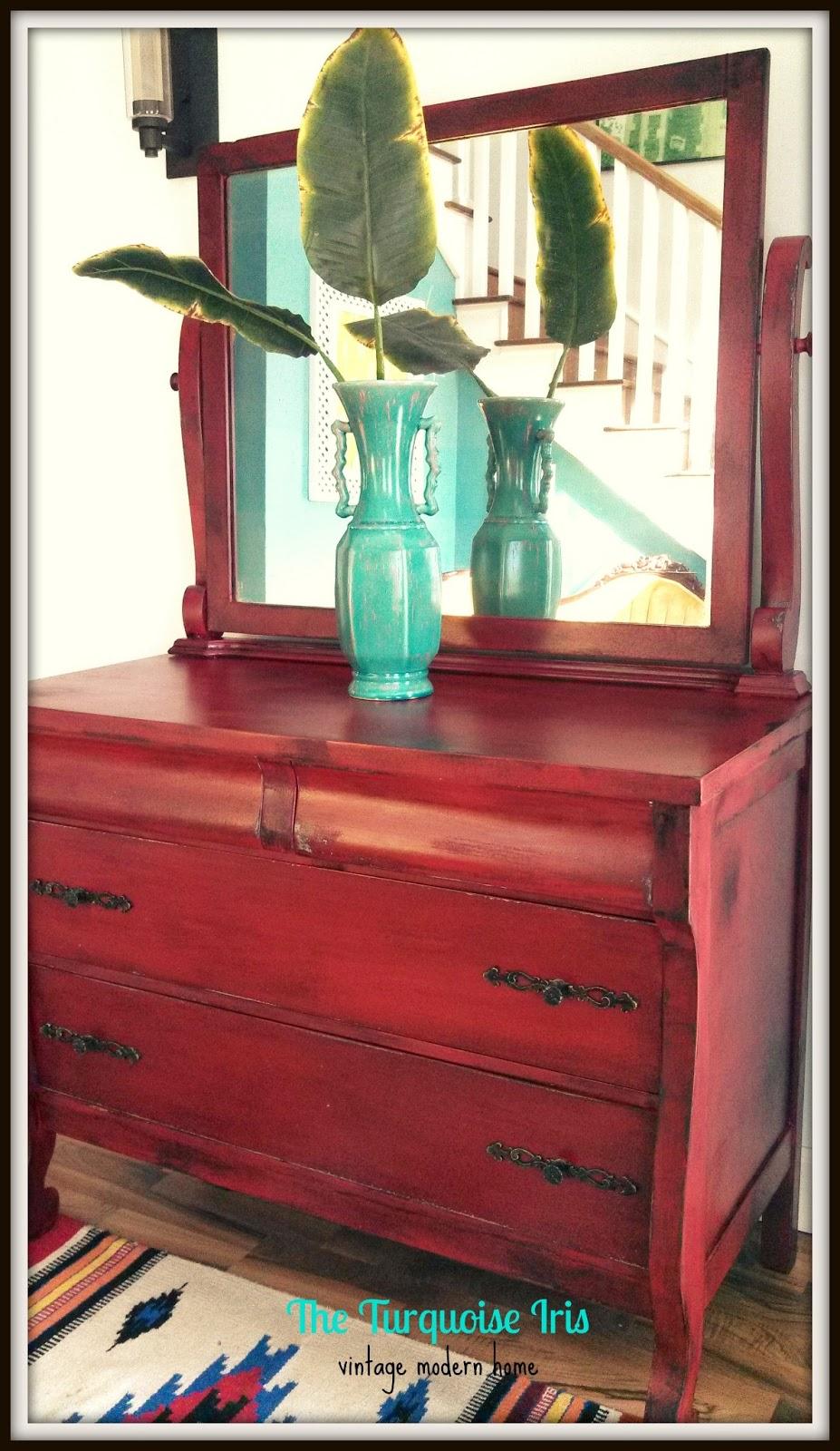 The Turquoise Iris Furniture Art Antique Dresser Mirror In