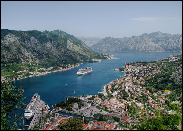A view of the Bay of Kotor from high above with cruise ships and old town.