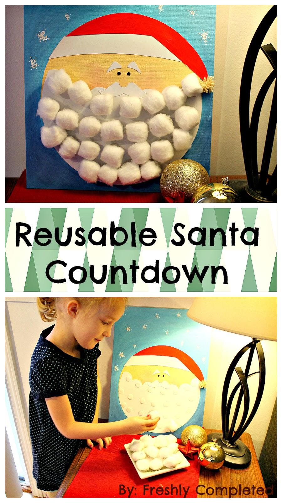 Freshly Completed: Reusable Cotton-ball Santa Countdown