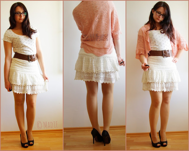 Outfit Oh my Anchor! - Lace Skirt, Anchor-Shirt & Crochet Cardigan