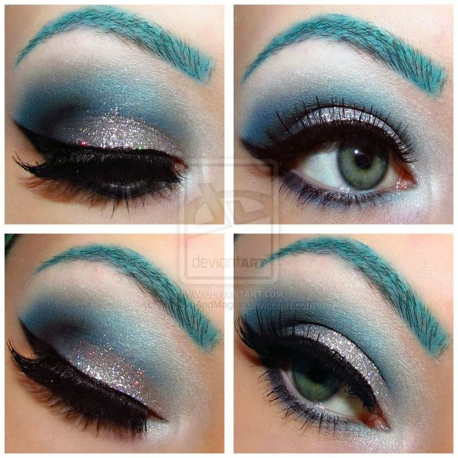 Le Belle Maquillage Silver Glitter And Turquoise Make Up Look
