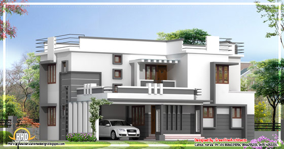 Contemporary 2 story kerala home design 2400 sq ft for Modern house plans 2400 sq ft