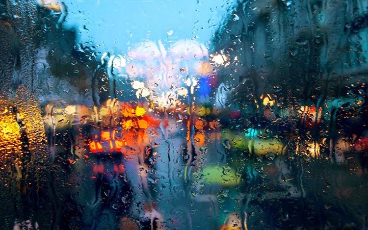 Rain Drops on Glass in Market