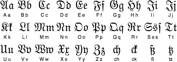 Fractur Typographic Or Gothic Printing Script