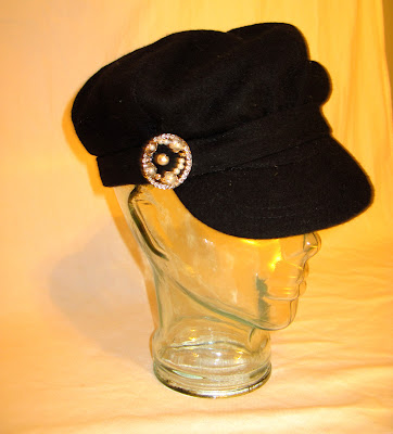 Pearl and Silver Embellished Wool Cadet Hat, Victorian Brooch On the Side, Black Lining
