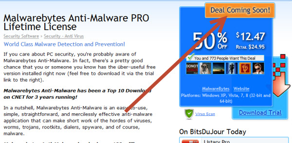 50% discount Malwarebytes Anti-Malware PRO Lifetime License
