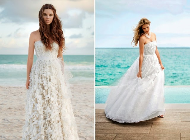 white gown beach wedding dress