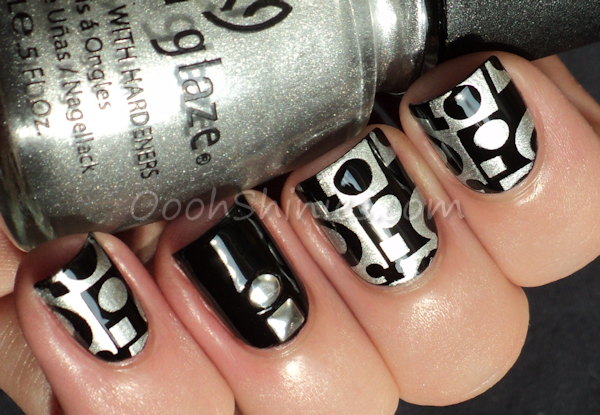 Essence Black Is Back stamped with China Glaze Millennium and Konad m65, studs from BPS