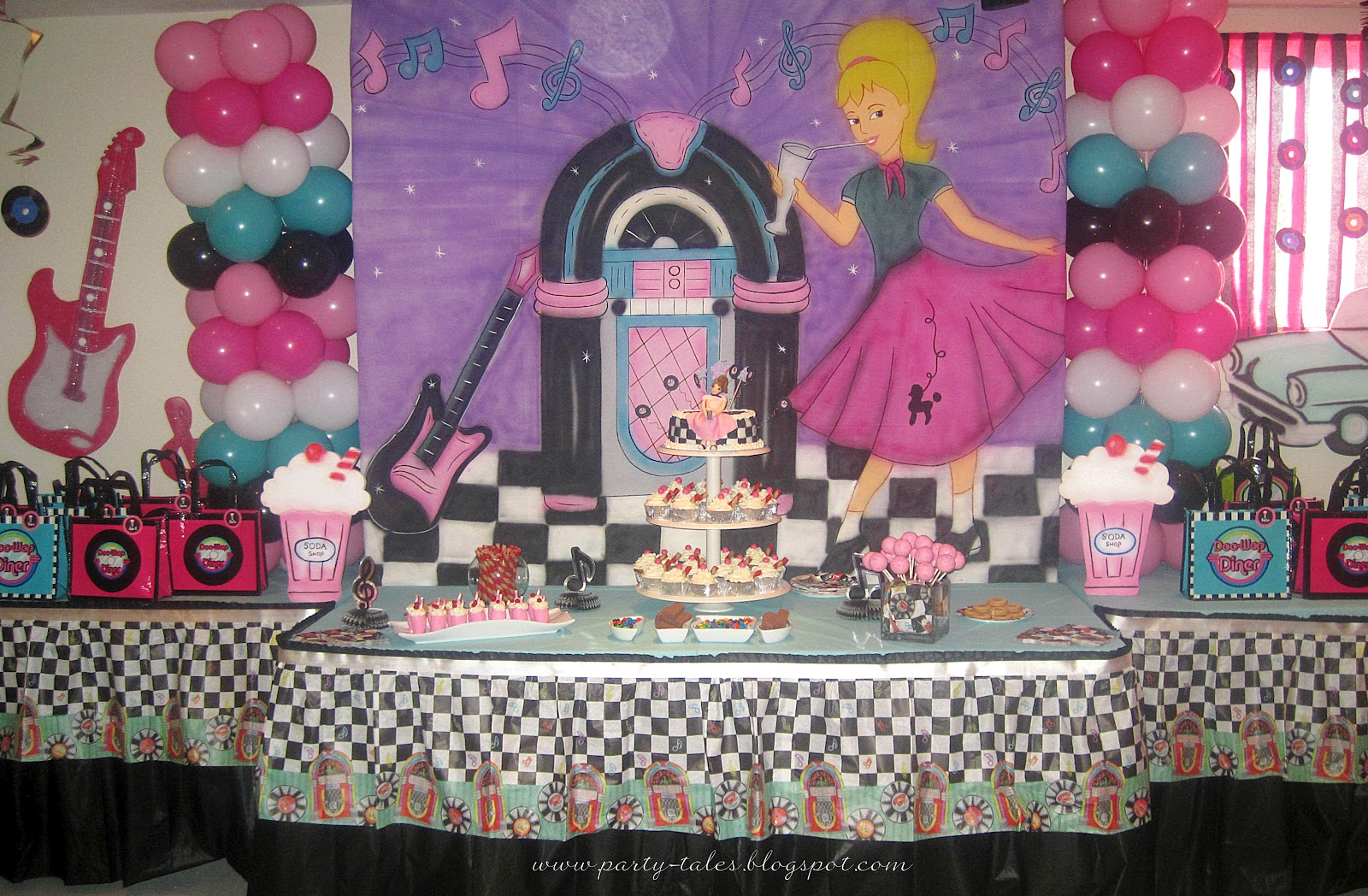 Party tales birthday party 50 39 s diner sock hop party - S birthday party decorations ...