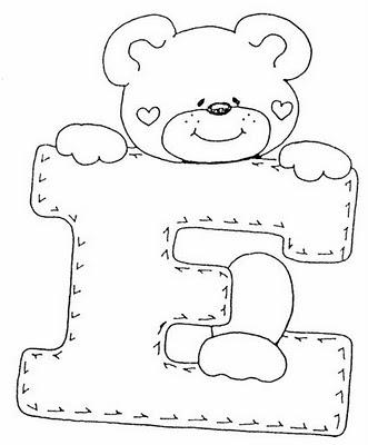 Abecederio de Osito corazon para colorear letra E ~ 4 Dibujo