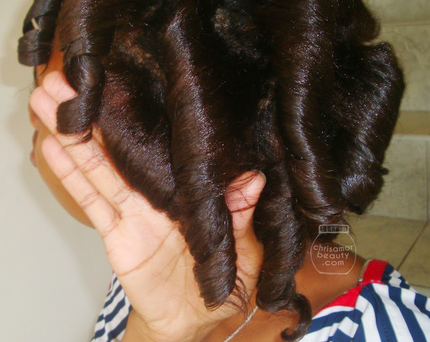 Flexi-rod Curl results - Orange and purple rods used. Relaxed hair