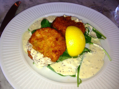 Salmon fishcakes, with spinach salad and a dill and mustard sauce, Cote Cardiff