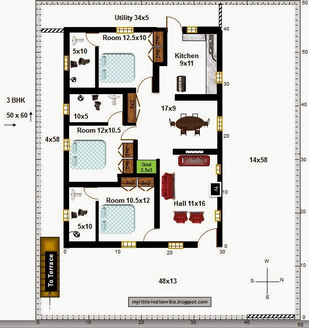 My little indian villa 11 r4 3 bhk in 50x60 east facing for 2 bhk house plans 30x40
